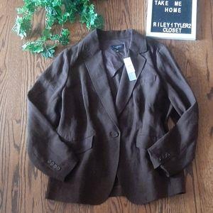 TALBOTS New classic100% linen brown blazer